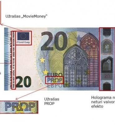 Netikro banknoto MovieMoney aversas